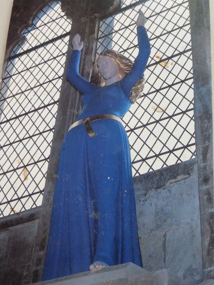 Statue of Mary in Ely Cathedral, Ely, England (postcard)