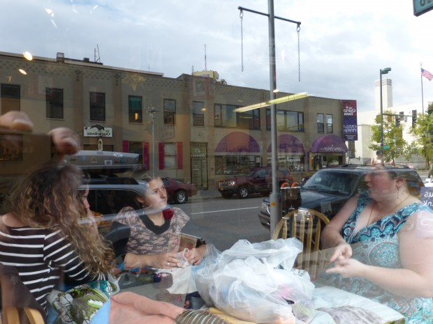 Sierra, Anda, and Saro working on the education scholarship quilt at Side Street Espresso (9.2.14, Anchorage, AK)