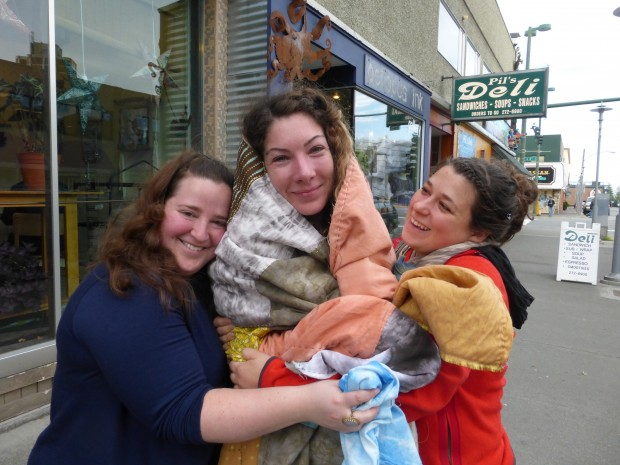 Pure love, pure joy: wrapped in the quilt-in-progress (9.2.14, Anchorage, Ak)