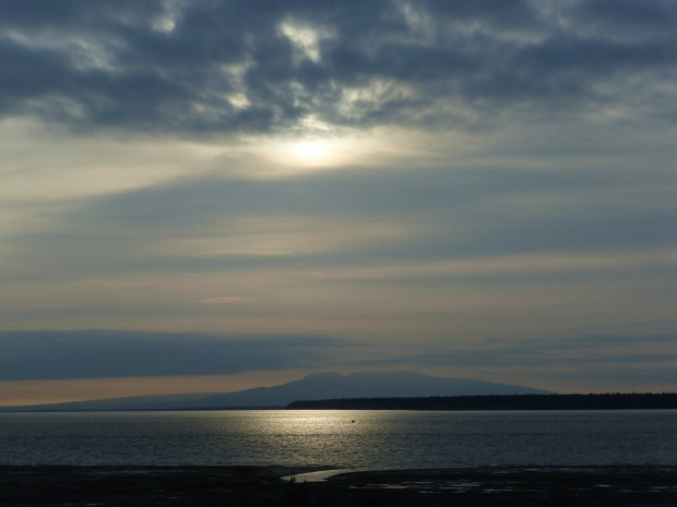 Solstice evening sun over Susitna-- 9:38 pm, 6.21.15, Anchorage, Ak