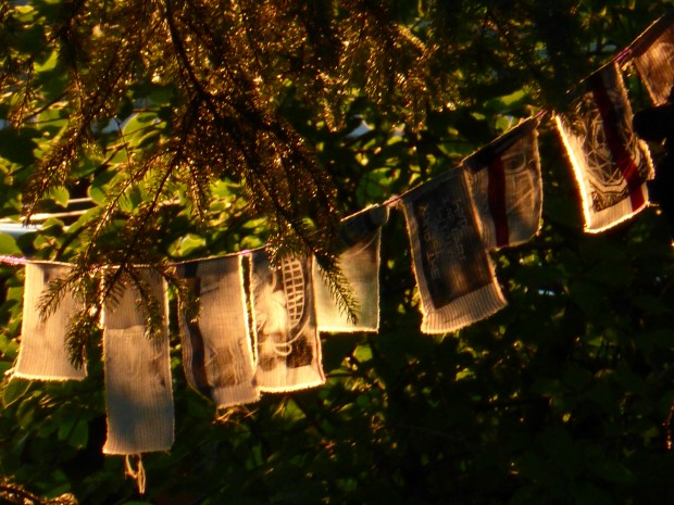 Prayer flags at Summer Solstice (10:30 pm, 6.22.15, Anchorage, Ak)