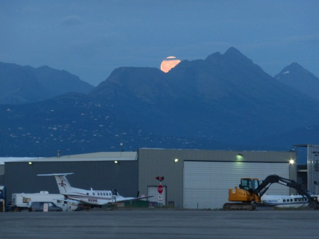 Blue Moon over Anchorage Airport, and behind Flattop-- 10:58 pm. 7.31.15, Anchorage, Ak